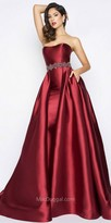 Mac Duggal Strapless Jewel Encrusted A-line Overskirt Evening Gown