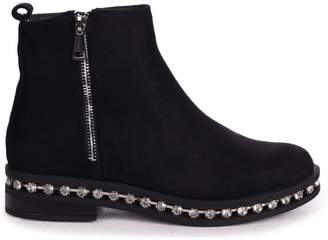 Linzi WINONA - Black Suede Chelsea Boot With False Zip & Diamante Trim Around Sole