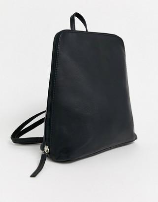 Asos Design DESIGN clean leather backpack-Black