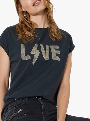 Mint Velvet Live Lightning Bolt T-Shirt, Grey