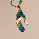 Burberry Modern Cut Collegiate Stripe Silk Tie, Green
