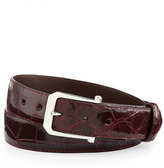 "W.KLEINBERG Glazed Alligator Belt with ""The Paisley"" Buckle, Burgundy (Made to Order)"