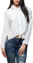 En Creme Tie Front Button Down Top