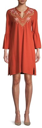 Johnny Was Rianne Embroidered Flare-Sleeve Cotton Dress