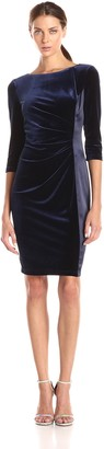 Vince Camuto Women's Elbow-Sleeve Velvet Sheath Dress