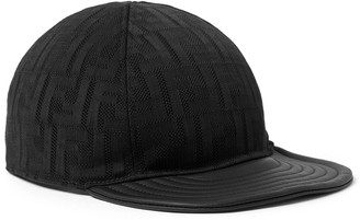 Fendi Leather-Trimmed Logo-Jacquard Mesh Baseball Cap