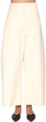 Jil Sander Wide Leg Cotton Satin Pants