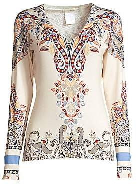 Women`s Paisley V-Neck Silk-Blend Sweater