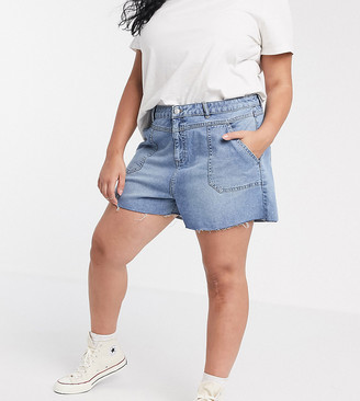 Urban Bliss Plus denim shorts with frayed hem