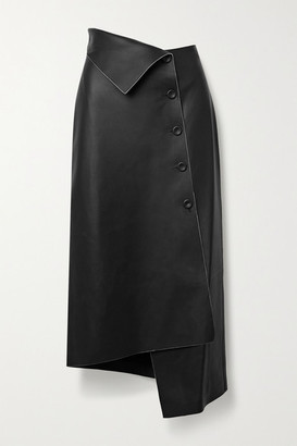 The Row Verna Asymmetric Leather Midi Skirt - Black