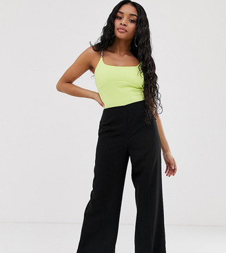 Asos DESIGN Petite wide leg trousers with clean high waist-Black