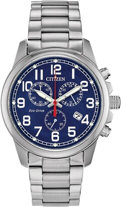 Citizen Men's Stainless Steel Chronograph Blue Dial Bracelet Watch, 40mm