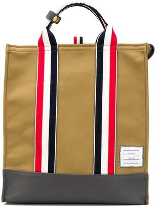 Thom Browne Rwb Webbing Canvas Tote Bag