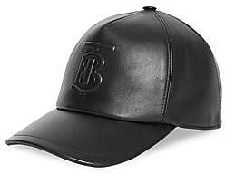 Burberry Men's TB Monogram Motif Leather Baseball Cap