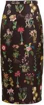 No.21 NO. 21 Botanical-print duchess-satin pencil skirt