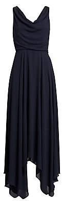 Halston Women's Sleeveless Cowl Neck Side Slit Maxi Handkerchief Dress