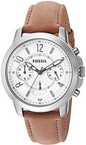 Fossil Women's Quartz Stainless Steel and Leather Automatic Watch, Color:Brown (Model: ES4038)