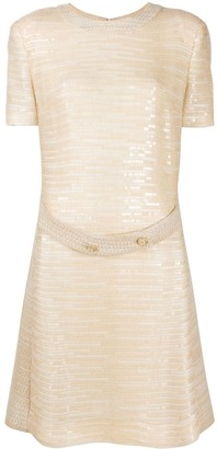 Chanel Pre Owned Belted Sequinned Dress