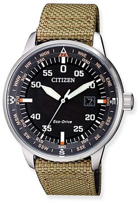 Citizen Mens Eco-Drive Global Collection Beige Band Watch, 42mm