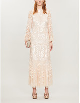 Snowdrop sequin-embellished tulle maxi dress