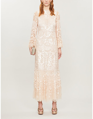 Selfridges Snowdrop sequin-embellished tulle maxi dress