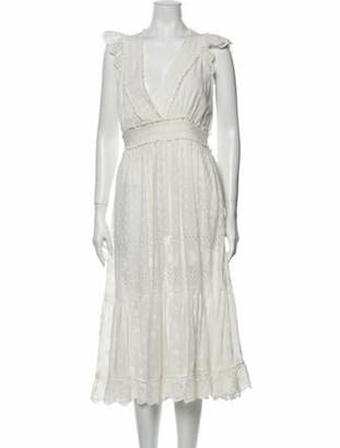 Ulla Johnson V-Neck Midi Length Dress White