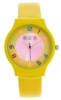 Crayo Unisex Jubilee Yellow Leatherette Strap Watch 36mm