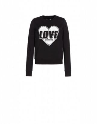 Love Moschino Heart Stretch Sweatshirt Woman Black Size 38 It - (4 Us)