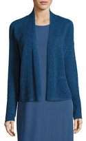 Eileen Fisher Linen-Blend Ribbed Cropped Cardigan, Denim, Petite