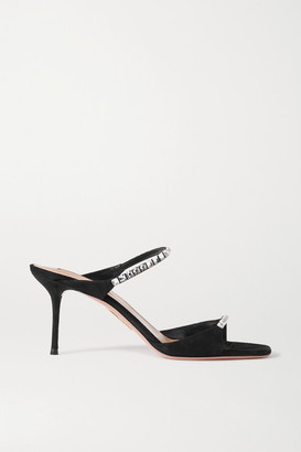 Aquazzura Diamante 75 Crystal-embellished Suede Mules - Black