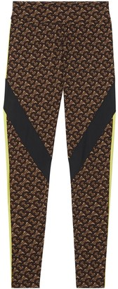 Burberry Colour-Block Monogram Print Leggings