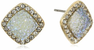lonna & lilly Women's Gold/White Cushion Druzy Stud Earrings