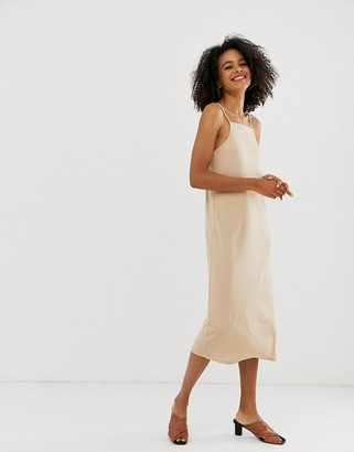 And other stories & square neck midi slip dress in light beige-Cream