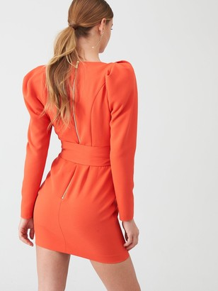 River Island Long Sleeve Belted Mini Dress- Red