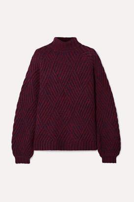 Victoria Victoria Beckham Victoria, Victoria Beckham - Melange Wool-blend Turtleneck Sweater - Burgundy