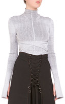 Proenza Schouler Turtleneck Crisscross Bandage-Waist Top, White/Black