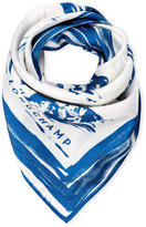 Longchamp Blue Painted Tiger Square Scarf