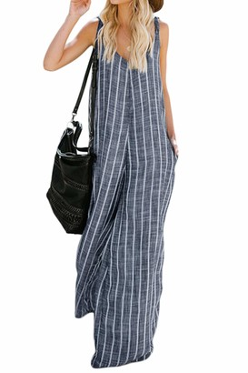 Zilcremo Women Jumpsuits Summer Wide Leg Palazzo Stripes Linen Dungarees Overalls Blue 3XL