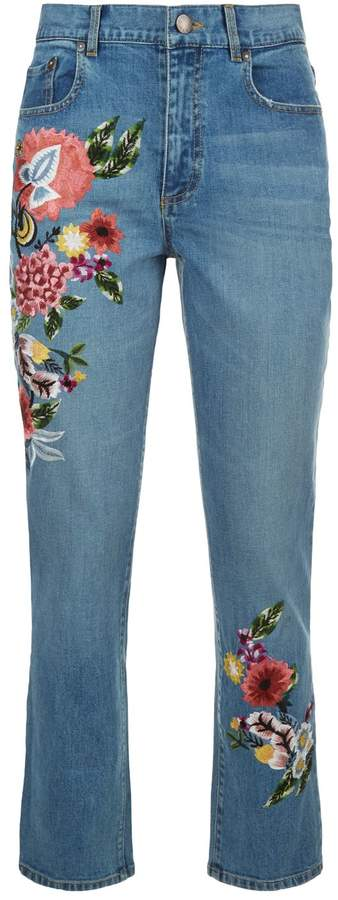 Alice + Olivia Floral Embroidered High-Rise Girlfriend Jeans