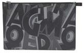 Salvatore Ferragamo Men's 'Fusion' Leather Zip Pouch - Black