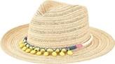 San Diego Hat Company Women's Paperbraid Fedora with Pom Trim PBF7307