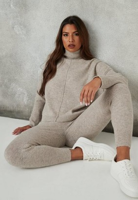 Missguided Stone Co Ord Seam Front Roll Neck Knitted Jumper