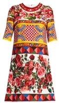 Dolce & Gabbana Carretto-print textured cotton-blend dress