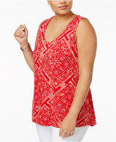 American Rag Trendy Plus Size Floral-Stripe Tank Top, Only at Macy's