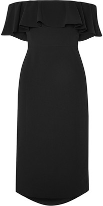 Halston Off-the-shoulder Ruffled Stretch-crepe Midi Dress