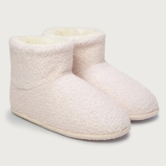 The White Company Boucle Boot Slippers, Pale Pink, 8
