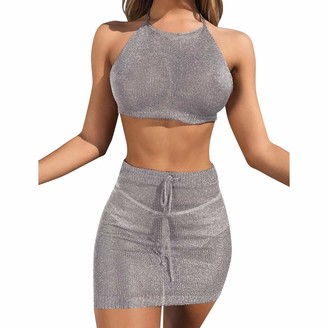 Fhuuly Women Summer Dress Sling Sleeveless Holiday Party Mini Dress Sexy Strap Tight-Fitting Hip Skirt Party Sexy Miniskirt Party Dress (Gray M)