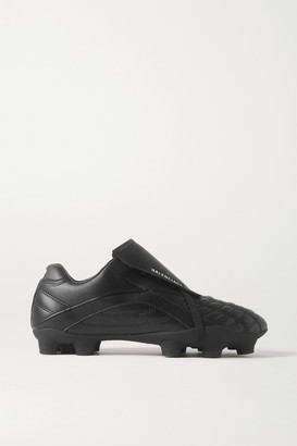 Balenciaga Soccer Quilted Faux Leather Sneakers - Black