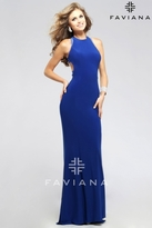 Faviana Charming High Neck Jersey Dress with Cutout Sheer Back 7779