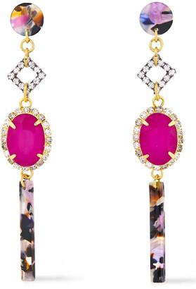 Elizabeth Cole 24-karat Gold-plated Crystal And Tortoiseshell Acetate Earrings